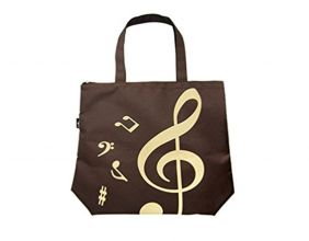PartyErasers Music Themed Brown Tote Bag (Treble Clef)