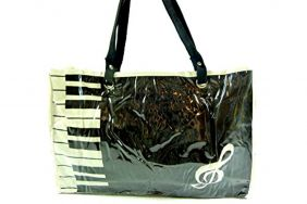 PartyErasers Music Themed Stylish Horizontal Tote Bag - Canvas with Soft PVC layer Waterproof - Black Keyboard
