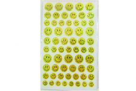 10 sheets of 4 Size Yellow Smiley Face Glittered Stickers (620 stickers)