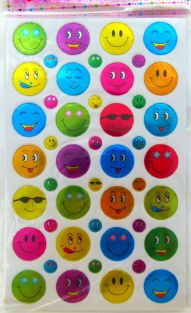 10 sheets of Colourful Smiley Face Glittered Stickers (280 stickers)