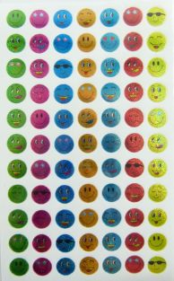 10 sheets of Small Colourful Smiley Face Glittered Stickers (770 stickers)