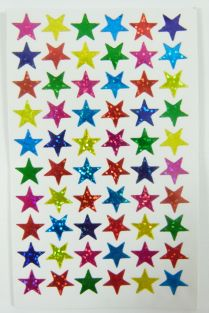 10 sheets of Small Star Shape Glittered Stickers (600 stickers)