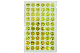 10 sheets of Yellow Smiley Face Expressions Glittered Stickers (600 stickers)