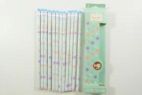 PartyErasers Pack of 12 x Beautiful Four-Leaf Clover Print HB Pencil with Eraser