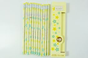PartyErasers Pack of 12 x Beautiful Lily Print HB Pencil with Eraser
