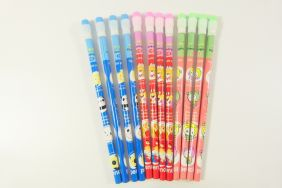 PartyErasers Pack of 12 x Cute Cartoon HB pencils with eraser top (blue, red and peach)