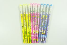 PartyErasers Pack of 12 x Cute Cartoon HB pencils with eraser top (purple, pink and yellow)