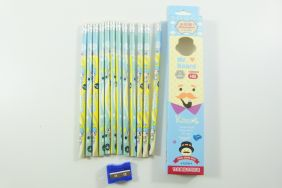PartyErasers Pack of 12 x Cute girl HB Pencils with Eraser (blue)