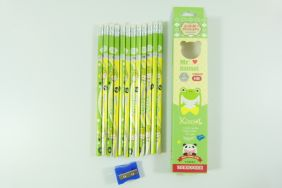 PartyErasers Pack of 12 x Cute girl HB Pencils with Eraser (green)