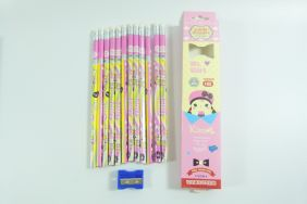PartyErasers Pack of 12 x Cute girl HB Pencils with Eraser (pink)