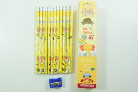 PartyErasers Pack of 12 x Cute girl HB Pencils with Eraser (Yellow)
