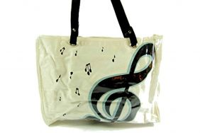 PartyErasers Music Themed Stylish Horizontal Tote Bag - Canvas with Soft PVC layer Waterproof - White with black treble clef