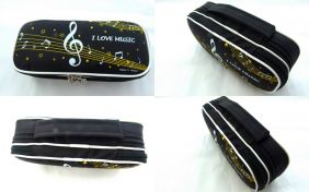 Music Themed Large Keyboard and Musical Note Design 2 Layer Pencil Case Zipper Pouch with Hand Handle