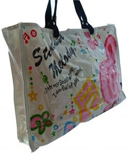 Music Themed Stylish Horizontal Tote Bag - Canvas with Soft PVC layer Waterproof - Pink Treble Clef Music Notes Design
