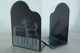 FunMusic Bookend - Grand Piano Shape with Cartoon Puppy & Butterfly Book Stand Pair