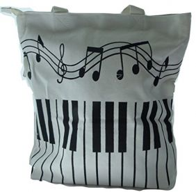 Music Themed Tote Bag Musical with Side Zip Pocket - Black and White Keyboard Design