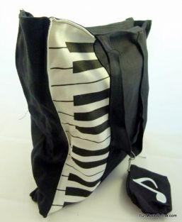 Music Themed Black and white piano keys design cloth tote bag with small zipper pouch