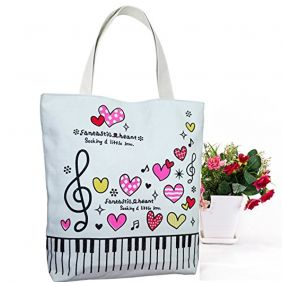 Action Cloud Canvas bag, Music Symbols Tote Shoulder Shopping Bag,Music Book Bag and Gift of music lovers (MG-340 Red Love)