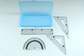 PartyErasers 4 in 1 Protractor and ruler Set - Blue Case