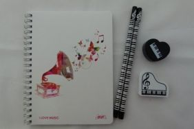 Music Themed Stationery - Colourful Musical Phonograph Notebook, HB pencils, eraser and sharpener set
