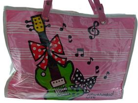 Music Themed Stylish Horizontal Tote Bag - Canvas with Soft PVC layer Waterproof - Red Ribbon Green Guitar Pink Design
