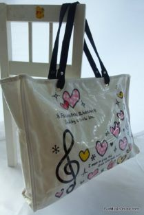 Music Themed Stylish Horizontal Tote Bag - Canvas with Soft PVC layer Waterproof - Lots of Hearts & Treble Clef Design