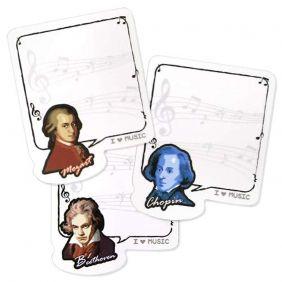 Music Themed Musicians Sticky Notes Pads (30 Sheets per Design)