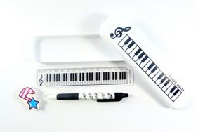 Music Themed Stationery – White Plastic Pencil Case with Mechanical Pencil, Eraser and Ruler