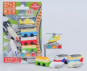 Trains Bus & Aircraft Japanese Erasers Carded Sets.