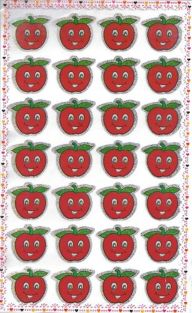 10 sheets of Medium Red Apple Glittered Stickers (280 stickers)