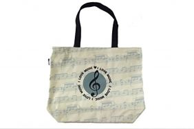PartyErasers Music Themed Stylish Horizontal Tote Bag - Canvas with Soft PVC layer Waterproof - Beige Round Treble Clef