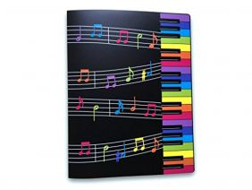 Music Themed 20 Pockets Plastic Folder Display Book Soft Cover - Colourful Keyboard Design