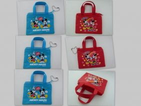 Party Bag Pack of 6 Disney Mickey Minnie Mouse Mini Zipper Purse Pouches (3 Red/3 Blue)
