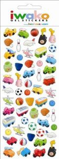 Iwako Sports and Toys Gel Stickers. 57 Stickers Per Pack