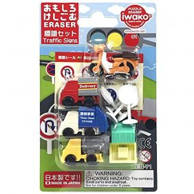 Iwako Blister Pack [Traffic Signs] BRI055 Pencil Erasers/Collective Puzzle