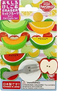 Iwako Slice Fresh Cut Fruits with Plate and Fork Puzzle Erasers Card Set