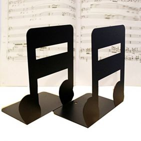 FunMusic Bookend - Semiquaver Nonskid Library School Office Home Study Metal Bookend (1 pair)