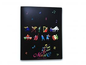 Music Themed 20 Pockets Plastic Folder Display Book Soft Cover - Music Instruments Design