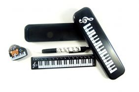 Music Themed Stationery – Black Plastic Pencil Case with Mechanical Pencil, Eraser and Ruler