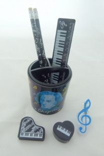 Music themed Stationery set – Chopin Colourful Musical Notes Pencil holder, pencils, ruler, eraser, sharpener, treble clef clip