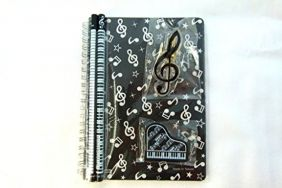 Music Themed Stationery Notebook Set - Black Musical Notes Spiral Bound Notebook, Piano Eraser, Treble Clef Clip and 2 Musical Notes Pencils