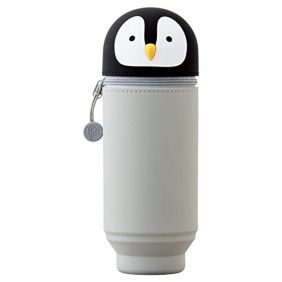 LIHIT LAB. PuniLabo Stand Up Pen Case (Pen Holder), Penguin, 2.9 x 8.3 inches (A7714-10)