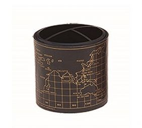 PartyErasers Black Wold Map Design Pen Pencil Cup Holder with 3 Compartments