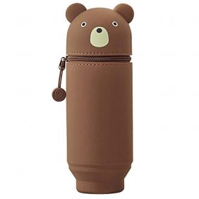 LIHIT LAB. PuniLabo Big Stand Up Pen Case (Pen Holder), Bear, 2.9 x 8.3 inches, (A7714-1)