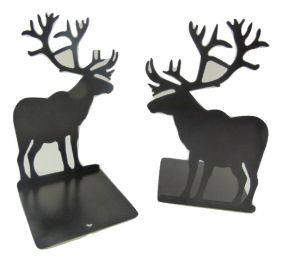 A Pair of High Quality Metal Sheet Reindeer Bookends Book Stand - Black