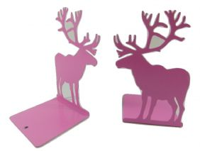 A Pair of High Quality Metal Sheet Reindeer Bookends Book Stand - Pink