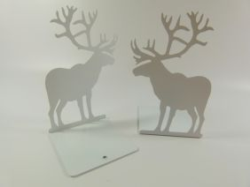 A Pair of High Quality Metal Sheet Reindeer Bookends Book Stand - White
