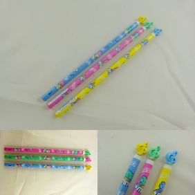 Animal Musician HB Pencils with Plastic Treble Clef Top (3 pencils) from Japan