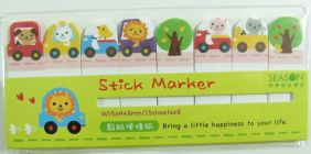 PartyErasers Self-Stick Sticky Note Flag Seal - Animal Cars