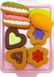 Iwako Cake Cookie Japanese Puzzle Erasers on Tray Card Set